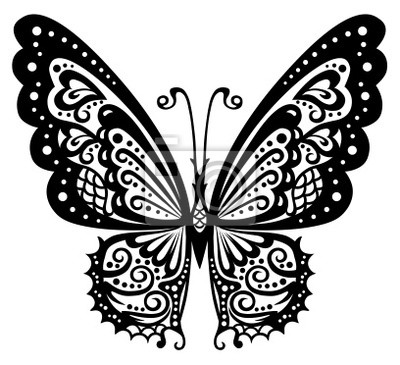 Fototapeta Artystyczny Wzór Z Motylem Korzystne Dla Tatuażu
