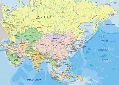 Fototapeta Asia - Bardzo szczegółowe edycji mapa polityczna.