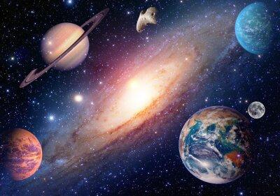 Fototapeta Astrologia astronomia ziemia księżyc mars kosmos planety Saturn System solarny Galaxy. Elementy tego zdjęcia dostarczone przez NASA.