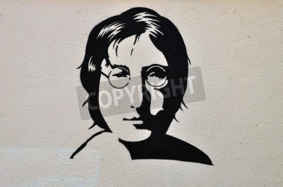 Fototapeta ATHENS, GREECE - AUGUST 30, 2014: John Lennon portrait stencil graffiti urban art on textured wall.