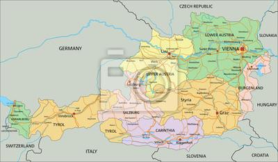 Austria Bardzo Szczegolowe Edycji Polityczna Mapa Etykietowania