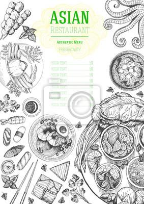 Fototapeta Azjatycka Kuchnia Widok Z Góry Ramki Projekt Menu żywności Z
