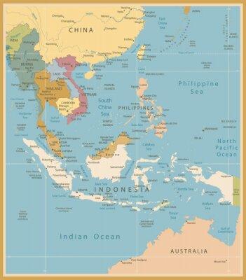 Fototapeta Azji Południowo-Wschodniej Mapa Szczegółowy zabytkowe kolory