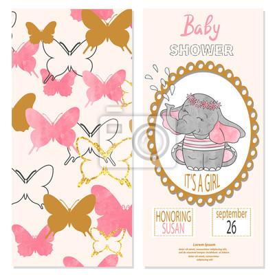 Baby Shower Dziewczyna Wektor Zaproszenie Projekt Karty Z Motyli