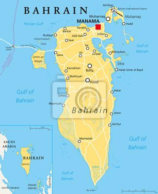 Bahrajn Mapa Polityczna Ze Stolica Manama Kraj Wyspa Archipelag
