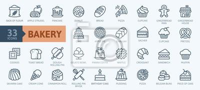 Fototapeta Bakery shop elements - minimal thin line web icon set. Outline icons collection. Simple vector illustration.
