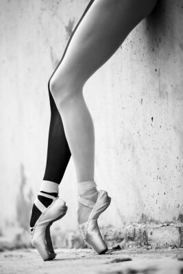 Fototapeta Ballerina feet close-up on a background of textured concrete wal