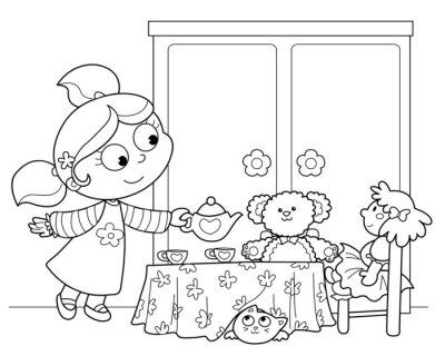 Fototapeta Bambina che Gioca servire il te alle Laski