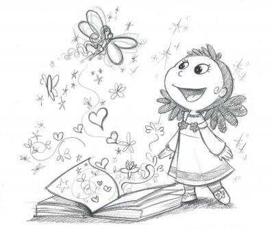 Fototapeta Bambina con libro fantazji