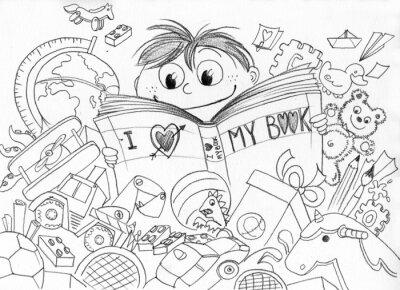 Fototapeta Bambino che ama la lettura realizzato matita
