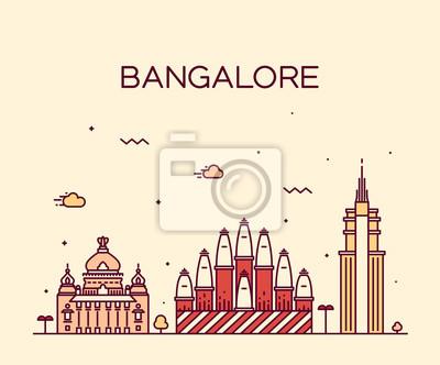 Fototapeta Bangalore skyline ilustracji wektorowych liniowa