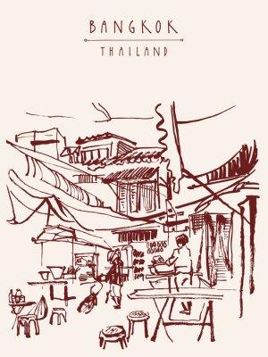 Fototapeta Bangkok, Tajlandia ręcznie rysowane pocztówki