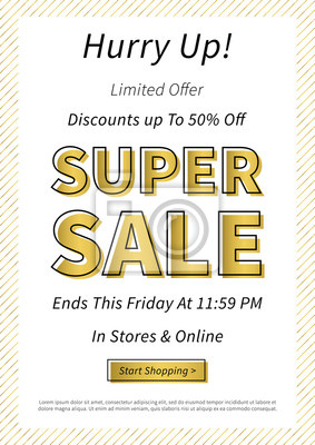 Fototapeta Banner Super Sale Poziome Ilustracji Wektorowych Plakat Super