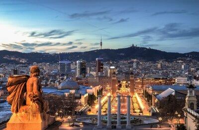 Fototapeta Barcelona niebieski godzinę, Hiszpania