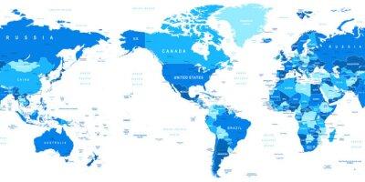 Fototapeta Bardzo szczegółowe ilustracji wektorowych z mapy świata.