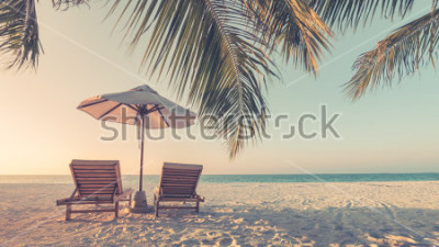Fototapeta Beautiful beach. Summer holiday and vacation concept background. Inspirational tropical landscape design. Tourism and travel design