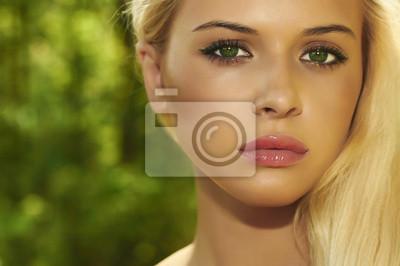 Fototapeta Beautiful Blond Woman in Forest.Summer Sunlight.Green eyes