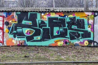 Fototapeta Beautiful street art graffiti. Abstract creative drawing fashion