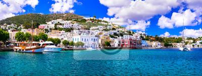 Fototapeta Beautiful traditional Greek island Leros. Dodecanese. view of Agia Marina village and port