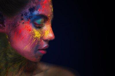 Fototapeta Beautiful woman portrait with bright art make-up