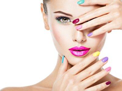 Fototapeta beautiful woman  with colored nails
