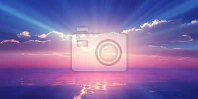 Fototapeta Beautify sunset over sea, sun ray