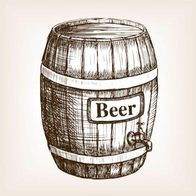 Fototapeta Beczka piwa styl szkic wektor