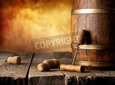 Fototapeta Beczka wina i korkociąg na drewnianym stole