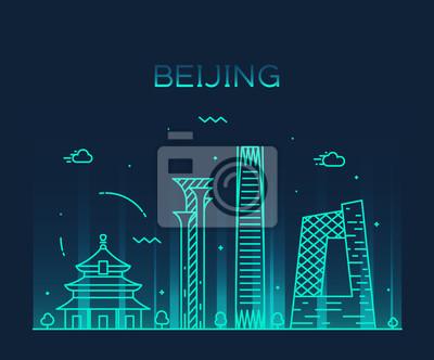 Fototapeta Beijing skyline trendy vector illustration linear