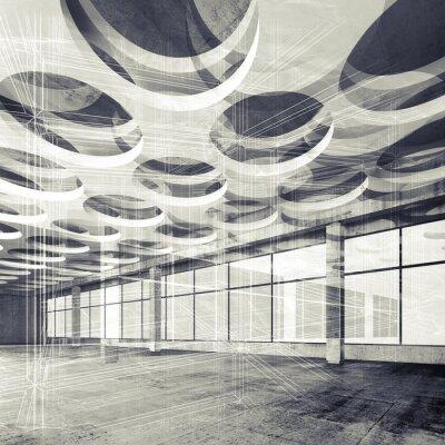 Fototapeta Betonowe wewnętrzne i wire-frame linie, ilustracji 3d