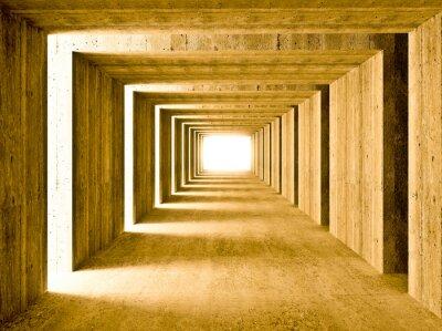 betonowy tunel i boczne światła