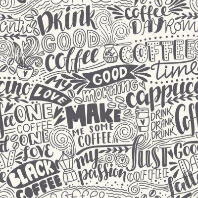 Fototapeta Bez szwu deseń kawy litery z cytatów. Ręcznie rysowane ilustracji wektorowych