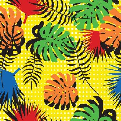 Fototapeta Bez szwu deseń tropikalnych liści w stylu pop-artu. Nowoczesne lato tle. Jasne liście palmowe i monstera