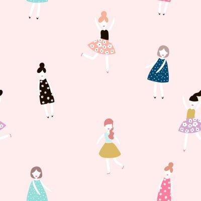 Fototapeta Bez szwu deseń z dziewczynami mody. Nowoczesny styl płaskim tle wektora.
