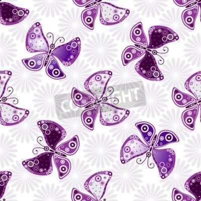 Fototapeta Bez szwu kwiatowy wzór z fioletowym motyle i kwiaty (wektor)