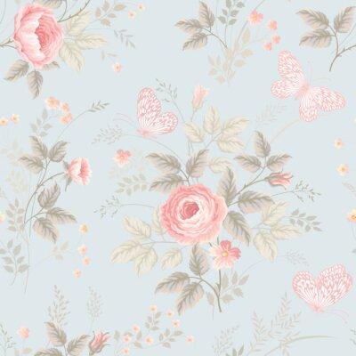 Fototapeta bez szwu kwiatowy wzór z róż i motyli