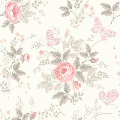 Fototapeta bez szwu kwiatowy wzór z róż w pastelowych kolorach