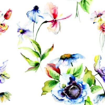 Fototapeta Bez szwu tapety z stylizowane kwiaty