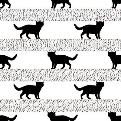 Fototapeta Bez szwu wzorów z sylwetkami czarnego kota.