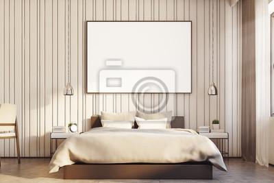 Fototapeta Beżowa Sypialnia Z Dużym Plakatem Bliska