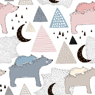Fototapeta Bezproblemowa dziecinna wzór z niedźwiedzia polarnego mama i dziecko. Kreatywny projekt dla dzieci. Idealny do tkanin, tkanin, osnowy, nursery.Vector ilustracji