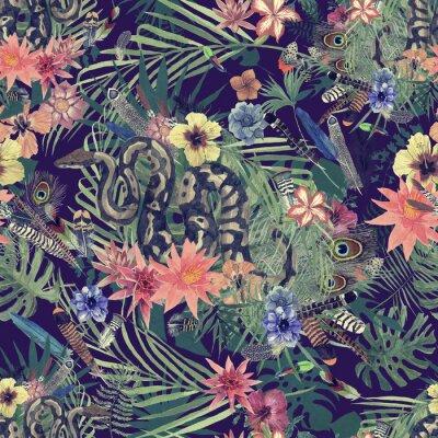 Fototapeta Bezszwowa ręka rysujący akwarela wzór z boa, kwiaty, piórka.