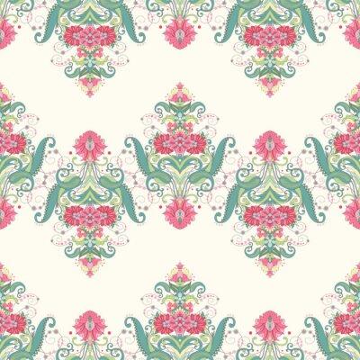 Fototapeta Bezszwowe tło wektor. Piękny orientalny kwiatowy wzór składa się z granic. Delikatny zielony i różowy.