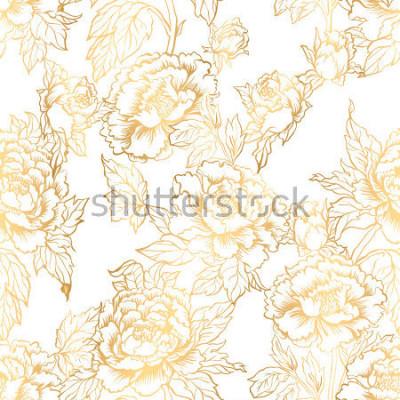 Fototapeta Bezszwowe tło z kwiatami piwonii. Ilustracja wektorowa imituje tradycyjne chińskie malarstwo tuszem. Graficzna ręcznie rysowane kwiatowy wzór. Projektowanie tkanin. Złote farbowanie.