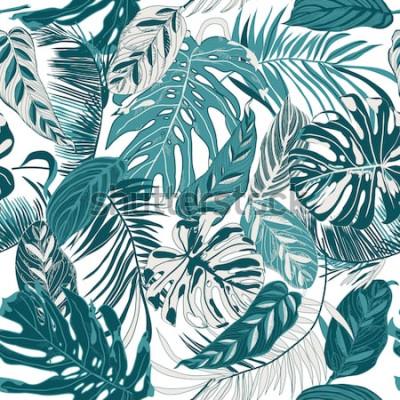 Fototapeta bezszwowe tło z liści tropic