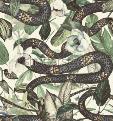 Fototapeta Bezszwowy akwarela wzór z tropikalnymi kwiatami, magnolią, pomarańczowym kwiatem, waniliową orchideą, tropikalnymi liśćmi, bananowymi liśćmi