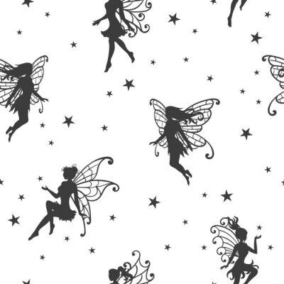 Fototapeta Bezszwowy magiczny wzór z wróżkami i gwiazdami.