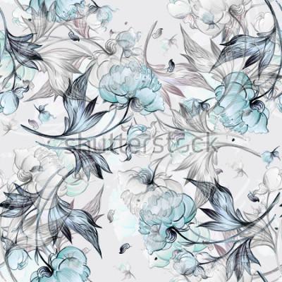 Fototapeta Bezszwowy peonia wzór z pączkami, wzorem dla tkaniny i tapetą, dla projekta i dekoraci.