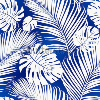 Fototapeta Bezszwowy powtarzalny wzór z białymi sylwetkami drzewko palmowe opuszcza na błękitnym tle.