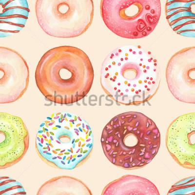 Fototapeta Bezszwowy tło akwareli kolorowi donuts glazurujący.